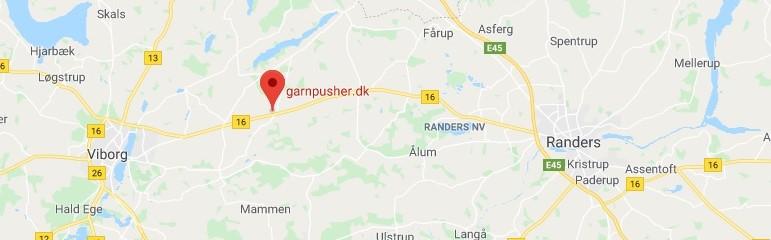 Kort over Garnpusher mellem Viborg og Randers