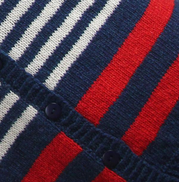 Detalje Stribet blå strik cardigan